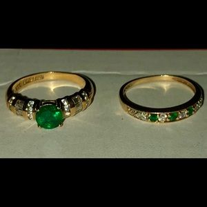 18k gold plated Simulated Emerald rings 925 Silver